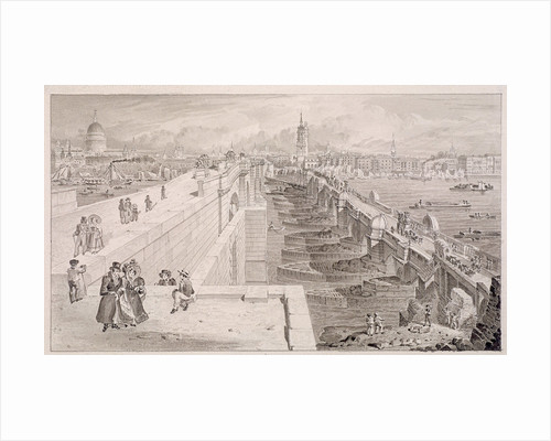 London Bridge (old and new),London by Thomas Hosmer Shepherd