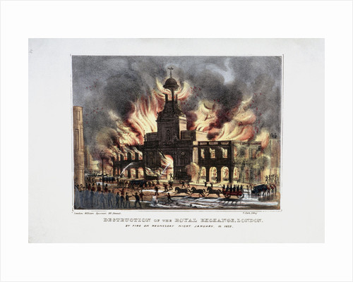 Destruction of the Royal Exchange' (2nd) fire, London by W Clerk