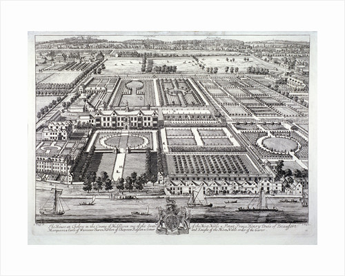 Aerial view of the seat of the Dukes of Beaufort, Chelsea, London by Johannes Kip