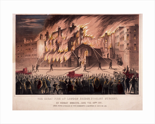 Firemen fighting the blaze at the Cotton's Wharf Fire, Bermondsey, London by Anonymous