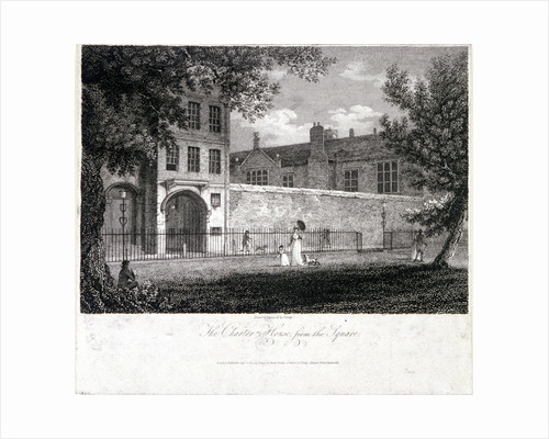 View of Charterhouse from the square with figures, Finsbury, London by J Greig