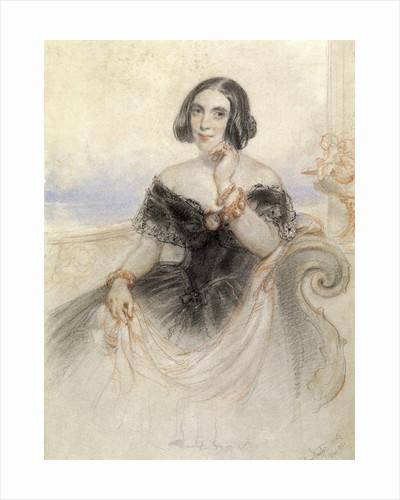 Lady in a black dress by John Hayter