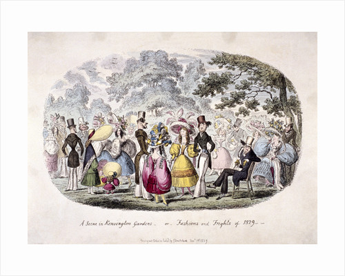 A scene in Kensington Gardens - or - fashion and frights of 1829' by George Cruikshank