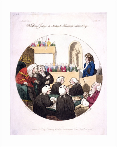 The deaf judge, or mutual misunderstanding, Old Bailey, London by Isaac Cruikshank