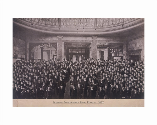 Group portrait of men in the London Commercial Sale Rooms, Mincing Lane, London by Anonymous