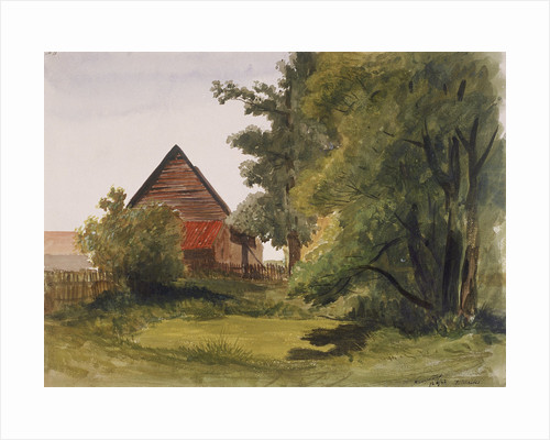 View of Hampstead with a barn on the left, Hampstead, Camden, London by Edmund Marks