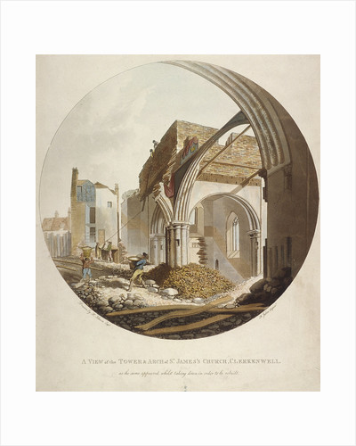 A view of the Tower and Arch of St James's Church, Clerkenwell, Islington, London by Francis Jukes