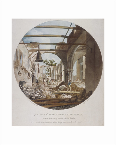 A view of St James's Church, Clerkenwell, Islington, London by Francis Jukes