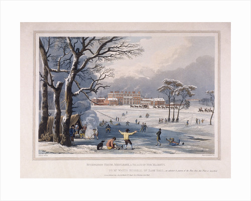 Buckingham House and St James's Park in the winter, London by Robert Havell