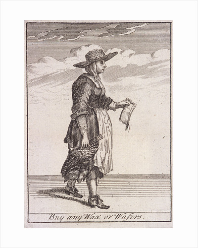 A wax and wafer seller, Cries of London, (c1688?) by Anonymous