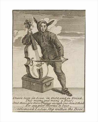 A street musician dressed in costume, Cries of London, (c1688?) by Anonymous