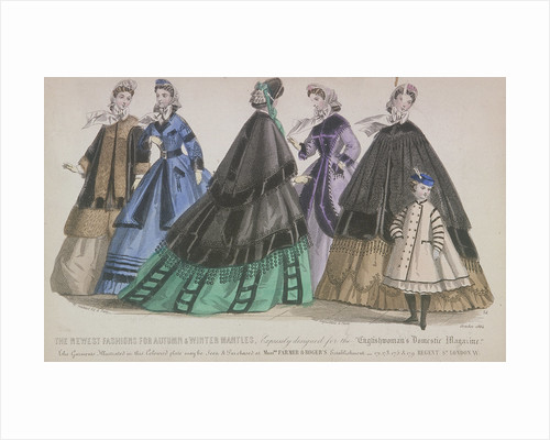Five women and a child wearing the latest autumn and winter fashions by Anonymous