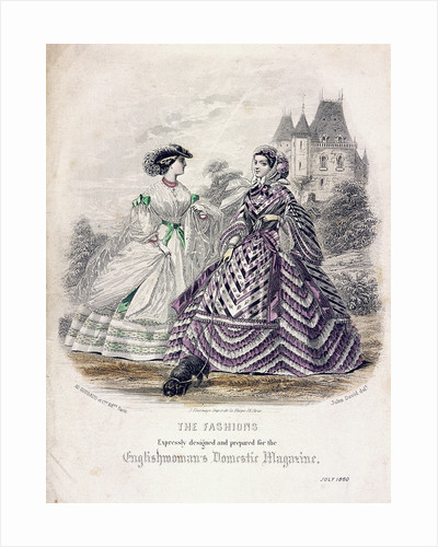 Two women wearing the latest fashions in an outdoor setting by Anonymous