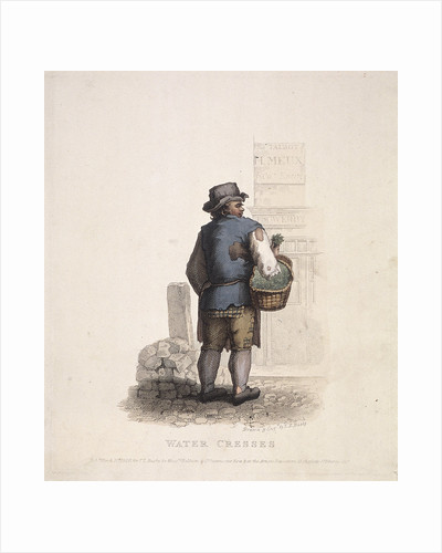 Watercress seller with a basket on his arm by Thomas Lord Busby