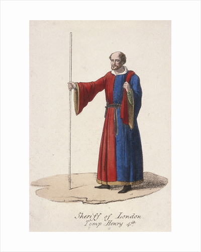 A Sheriff of London, dressed in early fifteenth century civic costume and holding a staff by Anonymous