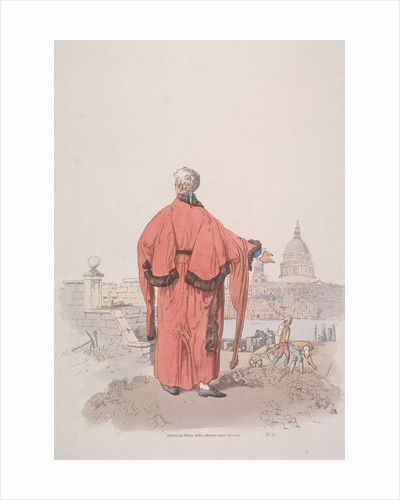 Alderman in civic costume looking towards St Paul's Cathedral, London by William Henry Pyne