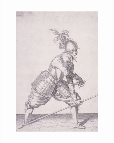 Figure in military clothing holding a pike in one hand and a sword in the other by Anonymous