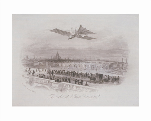 Early flying machine passing over London by Anonymous