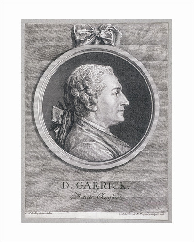 Oval portrait of the actor David Garrick wearing a short wig, with surround by Anonymous