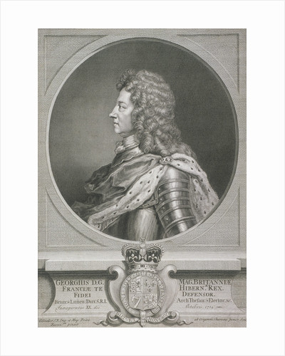 Oval portrait of George I, King of Great Britain by J Chereau