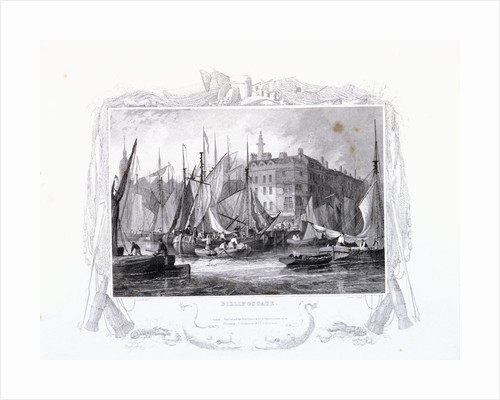 View of Billingsgate wharf with Three Tuns Public House, figures and boats, London by James Carter