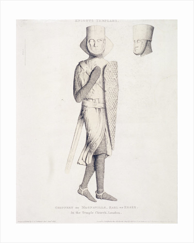 View of the effigy of Geoffrey de Mandeville, Earl of Essex, from Temple Church, London by Charles Alfred Stothard