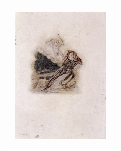 Cupid and lover lamenting the death of a loved one by Thomas Uwins