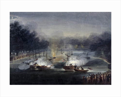 View of a sham fight on the Serpentine, Hyde Park, London by J Shury