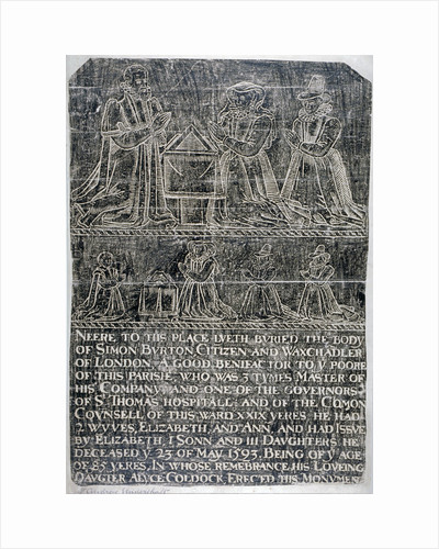 Brass rubbing from the Church of St Andrew Undershaft, Leadenhall Street, London by Anonymous