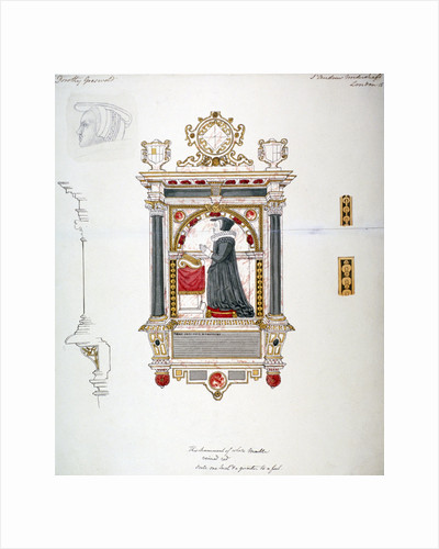 Monument in the Church of St Andrew Undershaft, Leadenhall Street, London, c1820 by Wheeler