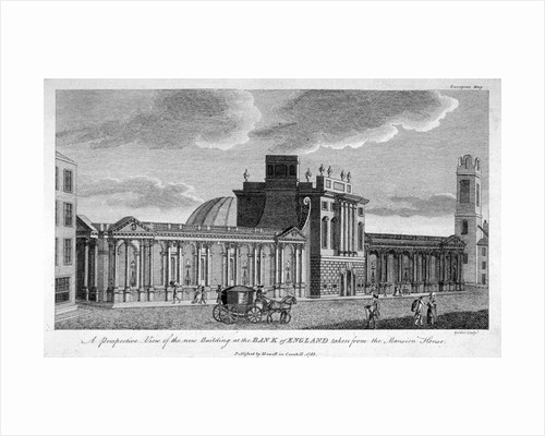 View of the new building at the Bank of England, City of London by John Peltro