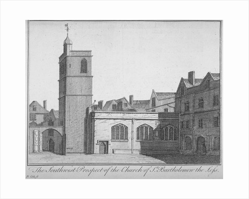 South-west view of the Church of St Bartholomew-the-Less, City of London by Benjamin Cole