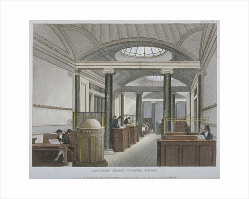 Interior view of the coffee room at the Auction Mart, Bartholomew Lane, City of London by Anonymous