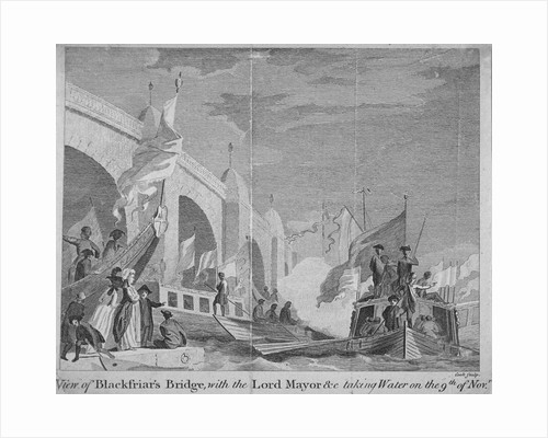 Lord Mayor's procession passing under Blackfriars Bridge, London by Thomas Cook