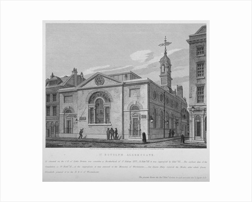 North-east view of the Church of St Botolph Aldersgate, City of London by Joseph Skelton