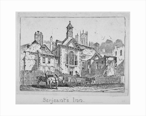 View of Serjeants' Inn with a horse and cart, Chancery Lane, City of London by Anonymous
