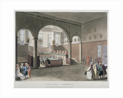 Interior view of the Doctors' Commons, City of London by Joseph Constantine Stadler