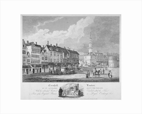 Cornhill, City of London, c1630 (1818) by John Rocque