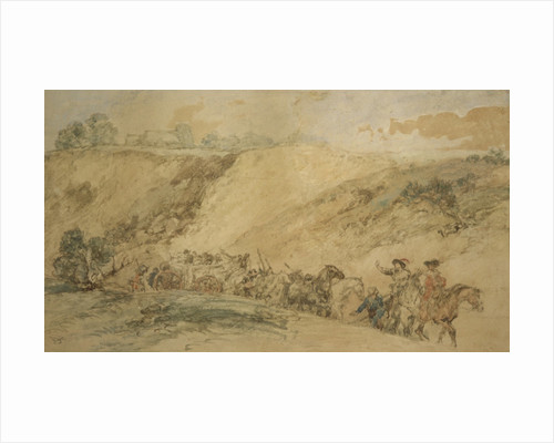 Army Waggons in a Ravine by Augustin Pierre Chenu