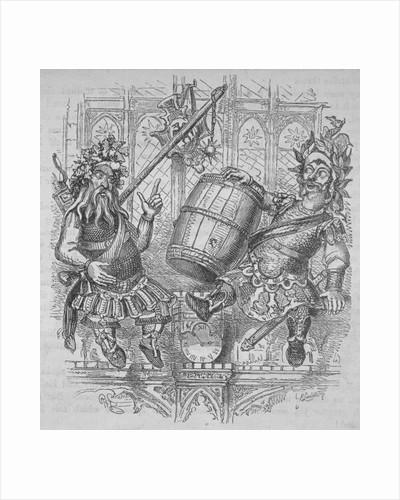 Gog and Magog with a barrel by Ebenezer Landells