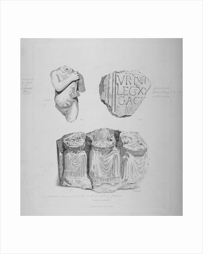 Remains of two Roman statues and an inscription on stone by John Wykeham Archer