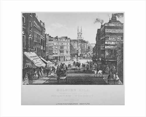 Holborn Hill and Skinner Street before Holborn Viaduct was built, City of London by Henry Dixon