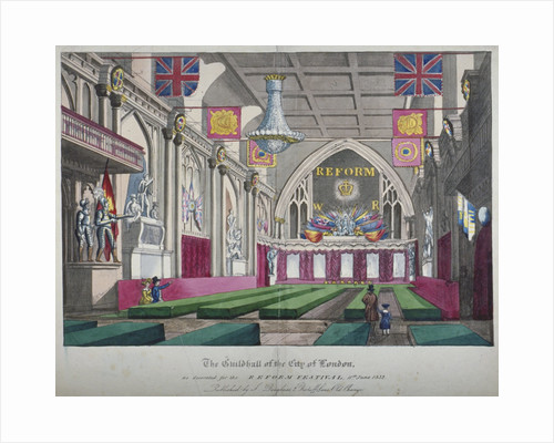 Interior view of the Guildhall decorated for the Reform Festival, City of London by Anonymous