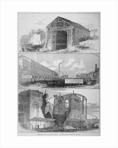 Demolitions for the Broad Street Extension of the Great Eastern Railway, City of London by Frederick Nash