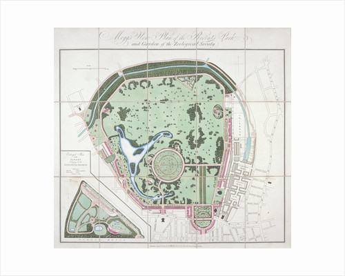 Plan of the Zoological Gardens, Regent's Park, St Marylebone, London by Edward Mogg