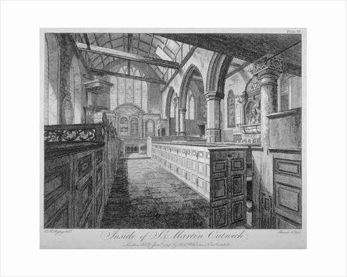 Interior of the Church of St Martin Outwich, City of London by Richard Barrett Davis