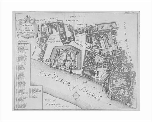 Map of the area around the Tower of London and St Katharine by the Tower, Stepney, London by John Crowther