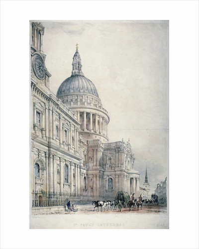 South-west view of St Paul's Cathedral from St Paul's Churchyard, City of London by Anonymous