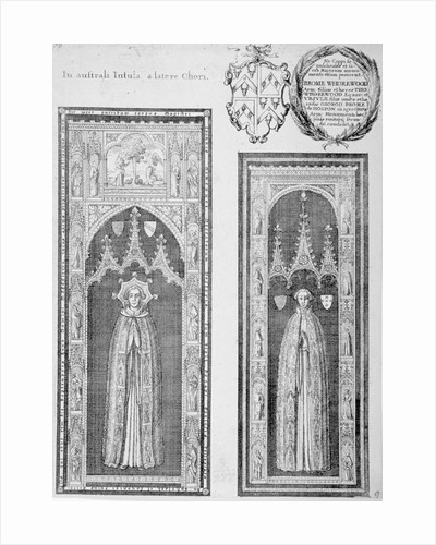 Brasses of John Newcourt and Brome Whorewood in old St Paul's Cathedral, City of London by William Henry Pyne