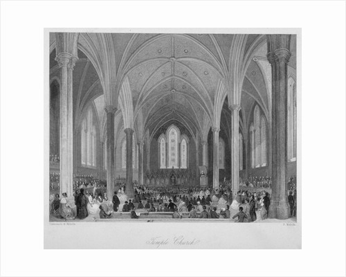 Interior of Temple Church during a service, City of London by Anonymous